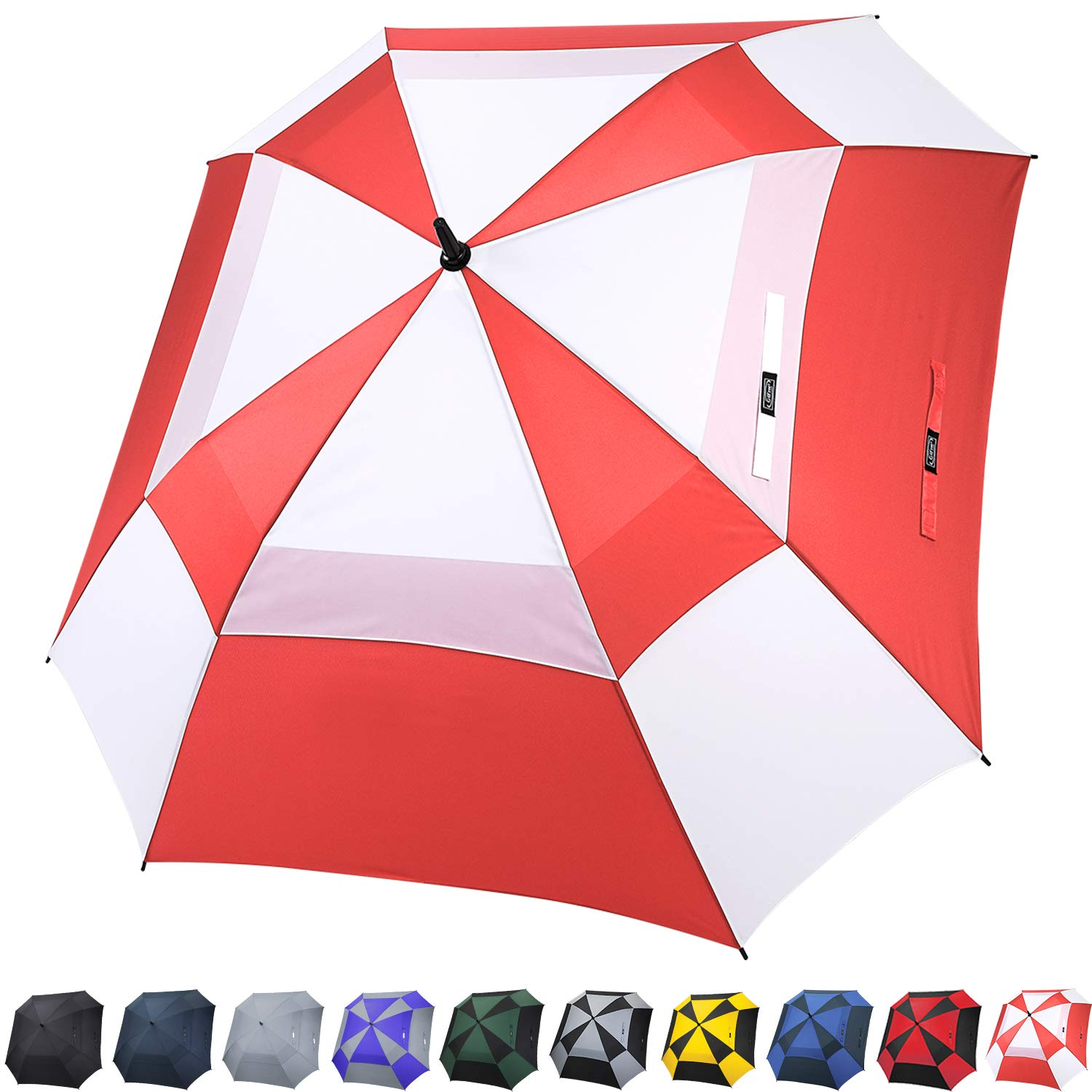 G4Free Extra Large Golf Umbrella Double Canopy Vented Square Umbrella Windproof Automatic Open 62 Inch Oversize Stick Umbrella for Men Women (Red/White) by G4Free
