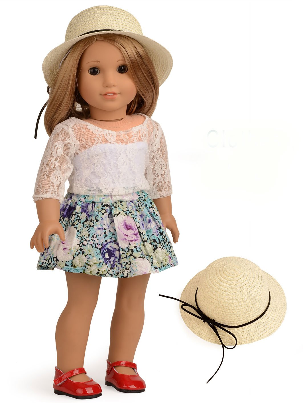 Sweet Dolly Doll Clothes Lace Top Floral Skirt Set for 18 Inches American Girl Dolls