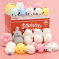 Mochi Squishys Toys, Satkago 20 Pcs Kawaii Mini Squishys Toys Soft Stress Relief Toys for Boys Girls Children Adults Seal Octopus Rabbit Chicken Cat Pig Tiger Sheep Panda