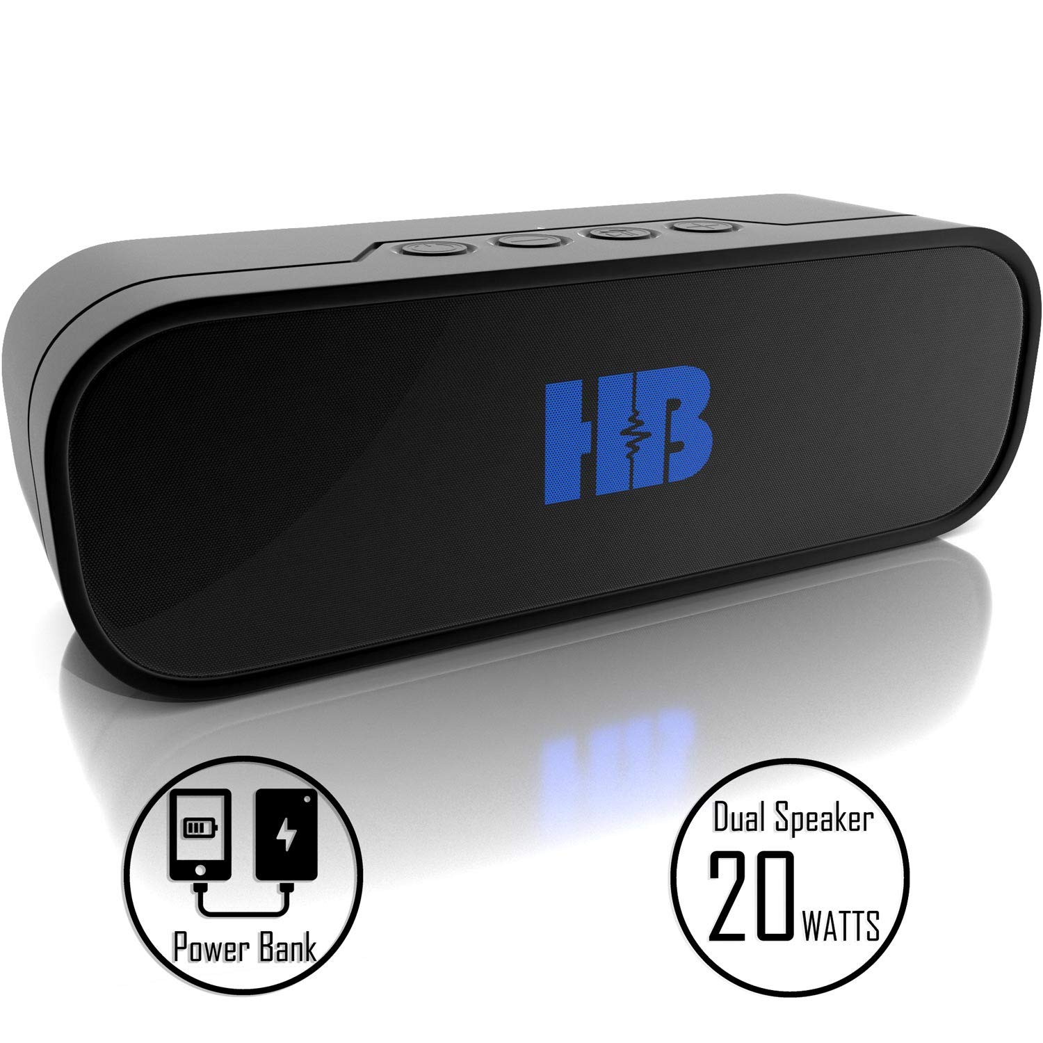 Bluetooth Speaker Power Bank - HB Beast - Powerful 20W Waterproof Bluetooth Portable Shower Speaker with Power Bank. Multiple Connections, Bluetooth, Micro SD Card Slot, USB Charging and Aux Cable. by Hydro Beat
