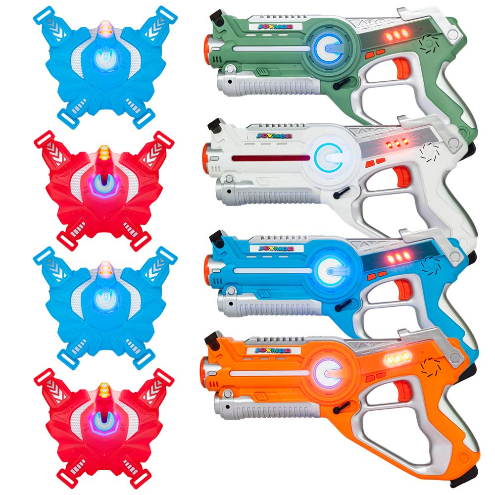 JOYMOR Laser Tag Guns Set of 4 Tag Blasters with Vests ,Multiplayer Mode,Best Toy for Boys Girls for Indoor and Outdoor Activity- Infrared 0.9mW