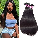 "Brazilian Straight Hair Weave Bundles Virgin Hair(8"" 8"" 8"" Natural Black 300g) 100% Unprocessed Brazilian Virgin Weave…"
