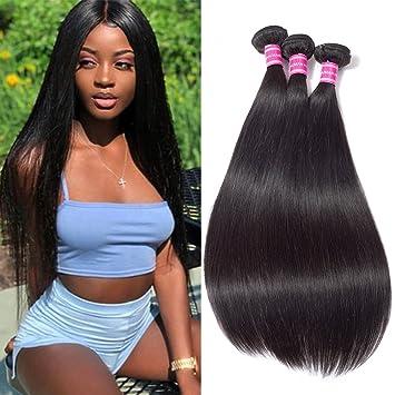 "baf6e1ab433 Brazilian Straight Hair Weave Bundles Virgin Hair(8"" 8"" 8""  Natural Black"