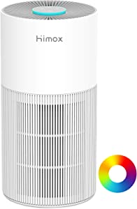 HIMOX Air Purifier for Home Allergies Smoke with Medical Grade H13 HEPA Filter, Optional Night Light, Brushless DC Motor, Air Cleaner for Bedroom Remove 99.97% Odor Pollen Dust Mold, 100% Ozone Free