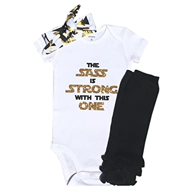 78c35fbe8 Amazon.com  Baby Girl Sass is Strong Outfit