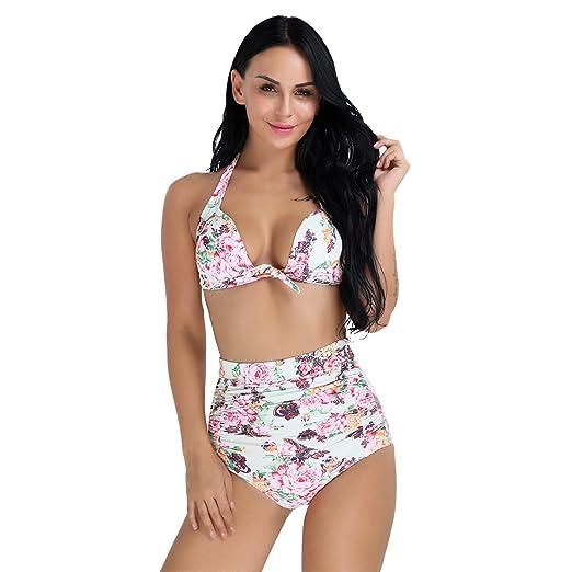 07cb9e361bf32 YiZYiF Women s High Waist Floral Printed Padded Swimwear Plus Size Bikini  2PCS Set Light Green Small