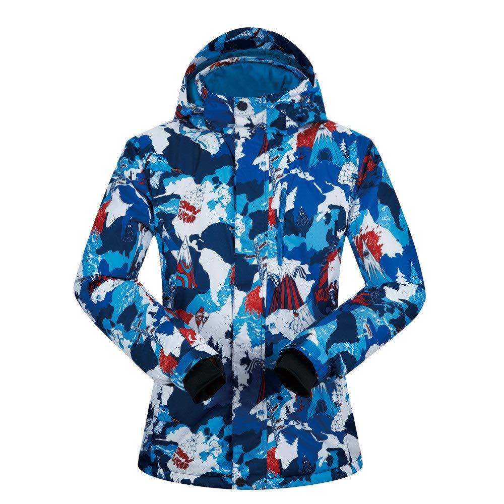 Aszhdfihas Winteranzug des Skianzugs der Männer Starke Wasserdichte Winddichte doppelte Snowboardkleidung Schneeanzug Winter (Farbe   ROT-Blau Snowman, Größe   M)