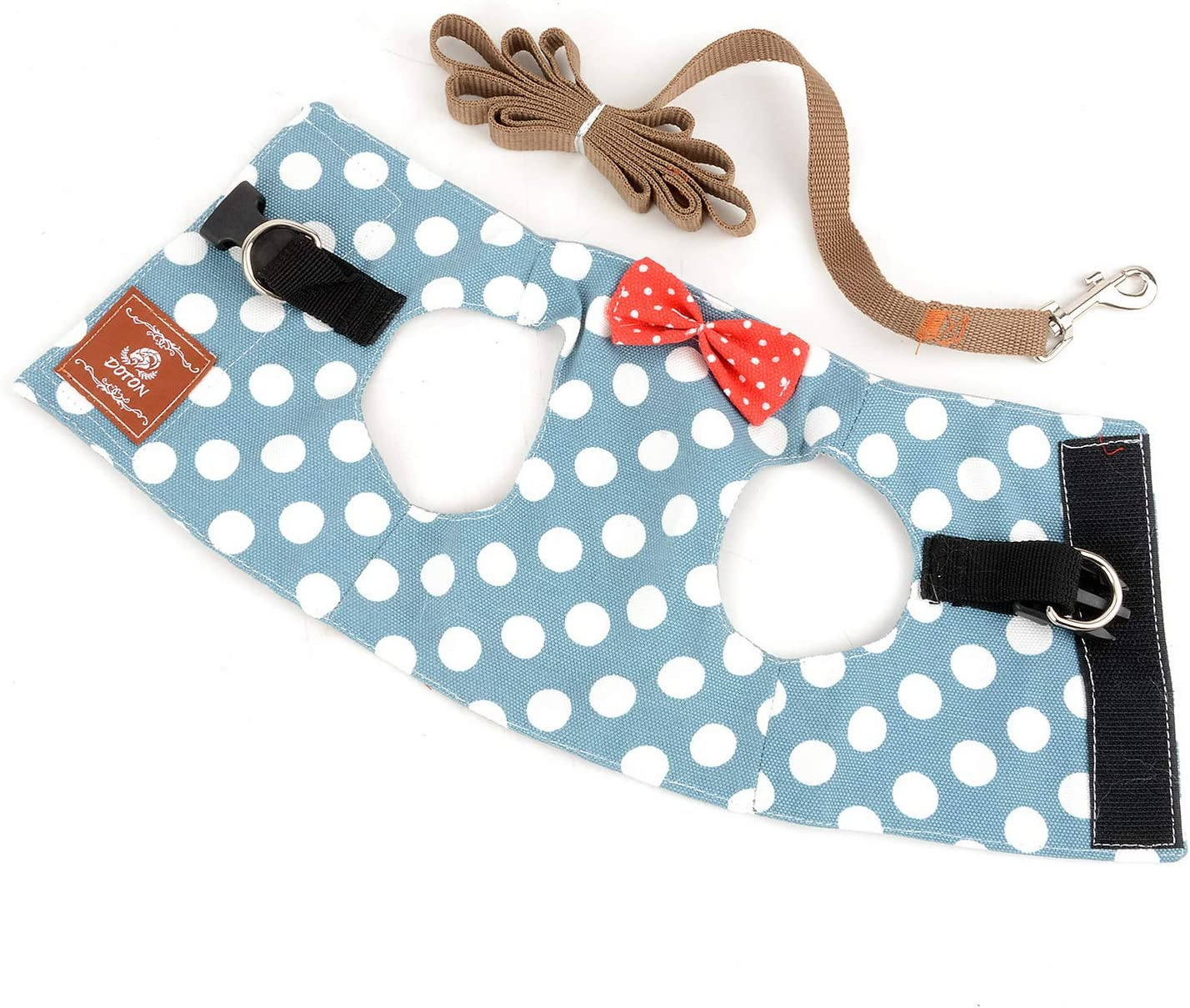 SELMAI Escape Proof Cat Harness with Leash for Small Dogs Dot Polka Vest Harness for Walking Training Leads No Pull for Puppy Doggies Chihuahua Dachshund Running Sport Outdoor
