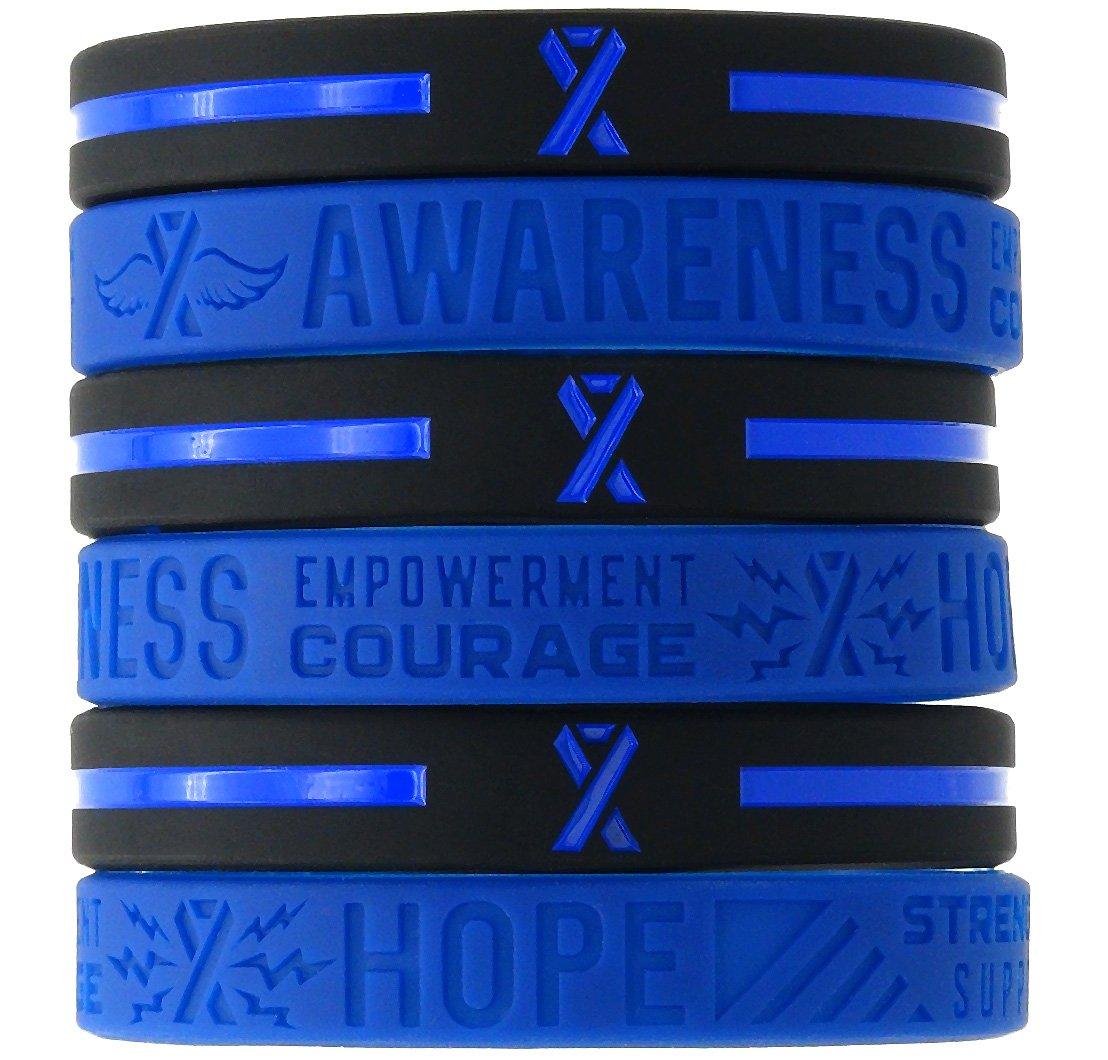 (12-pack) Blue Awareness Ribbon Silicone Wristbands - Wholesale Bulk Pack of 1 Dozen Bracelets in Unisex Adult Size by Inkstone