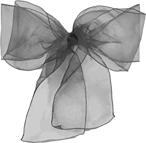 Elina Home Pack of 10 Organza Net Chair Cover Bow Sash Wedding Banquet Decor Coral (10, Silver Grey)