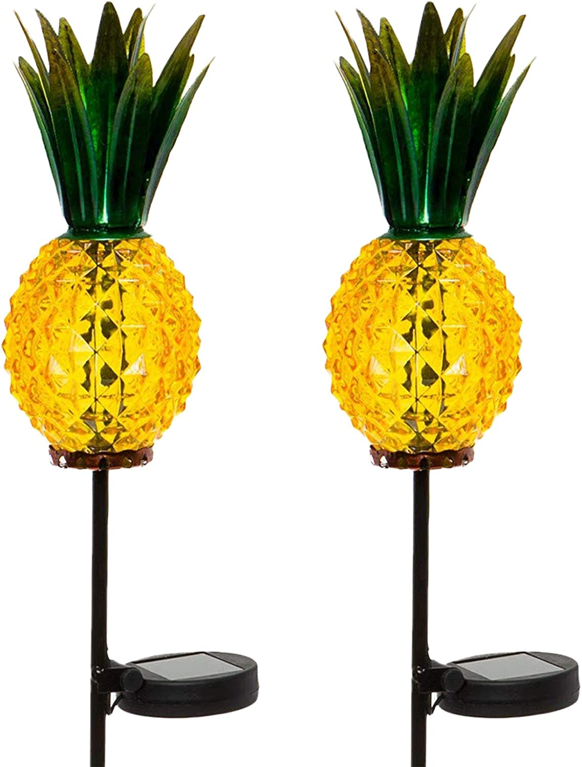 Outdoor Solar Pineapple LED Light Glass Path Stake Lights for Patio and Garden 2-Pack