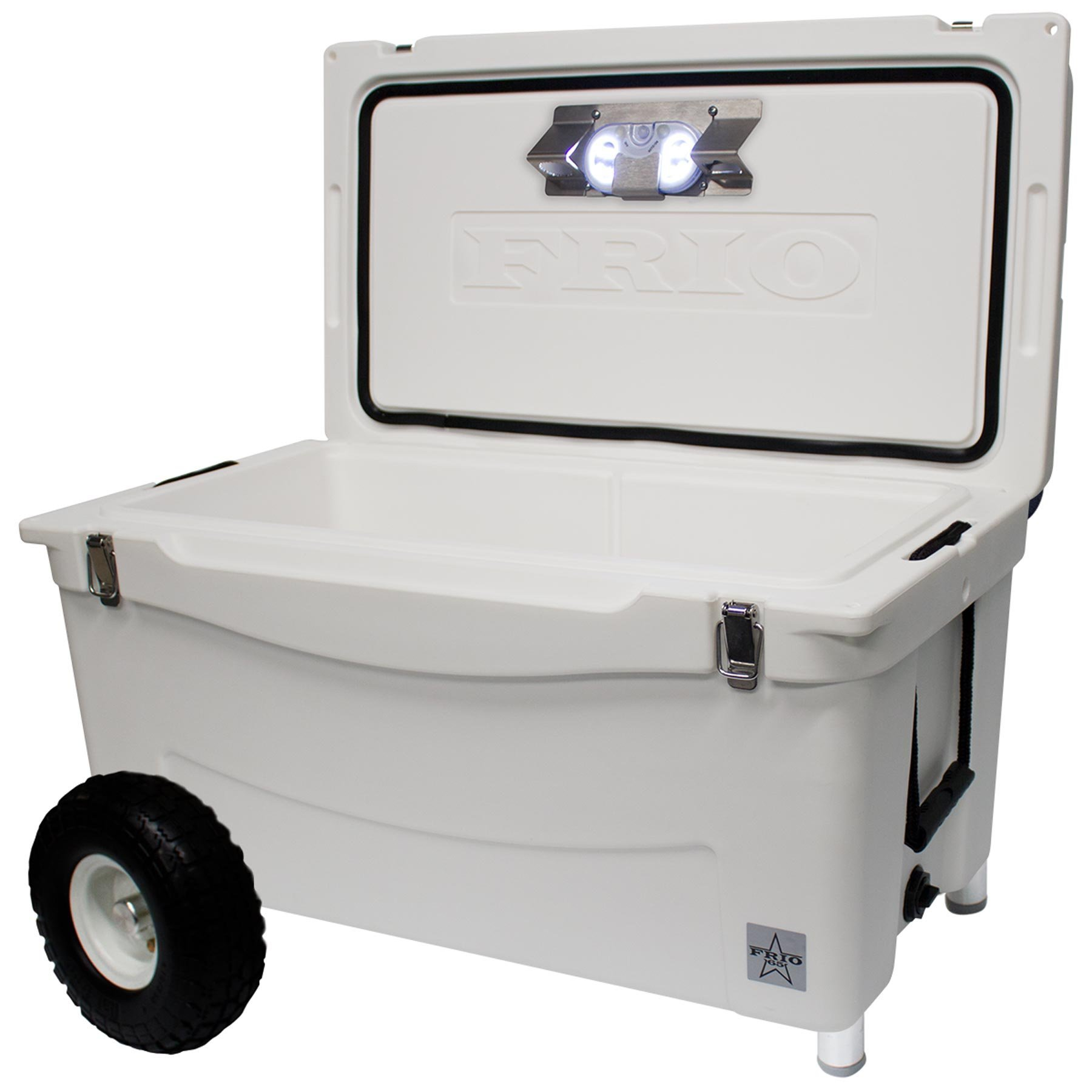 Frio Ice Chests Extreme Wheeled White Hard Side with Built-in Motion Sensitive Light Bar with Bottle Openers, 65 quart by Frio Ice Chests