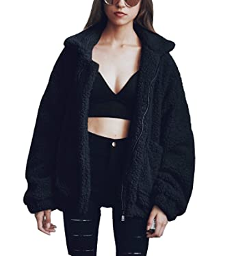 953e5c0ab4 PRETTYGARDEN Women s Fashion Long Sleeve Lapel Zip Up Faux Shearling Shaggy  Oversized Coat Jacket with Pockets