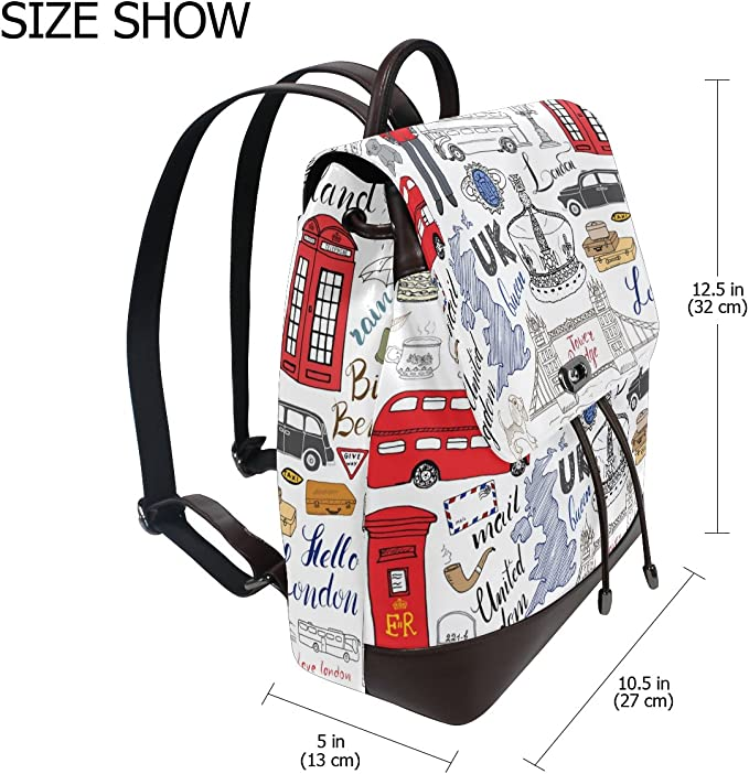 KUWT London Red Telephone Box Bus Mailbox and Soldier PU Leather Backpack Photo Custom Shoulder Bag School College Book Bag Rucksack Casual Daypacks Diaper Bag for Women and Girl