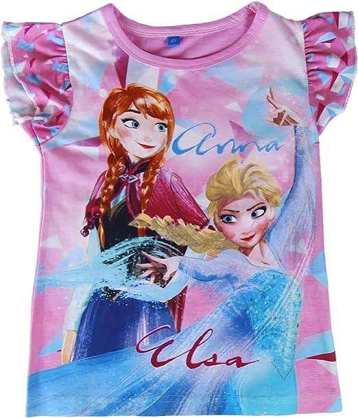 22-1949 Camiseta para niña FROZEN Elsa y Anna algodón de 3 a 7 ...
