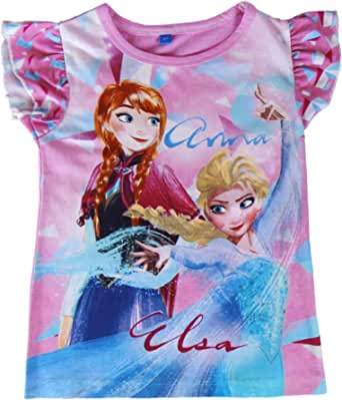 22-1949 Camiseta para niña FROZEN Elsa y Anna algodón de 3 a 7 año