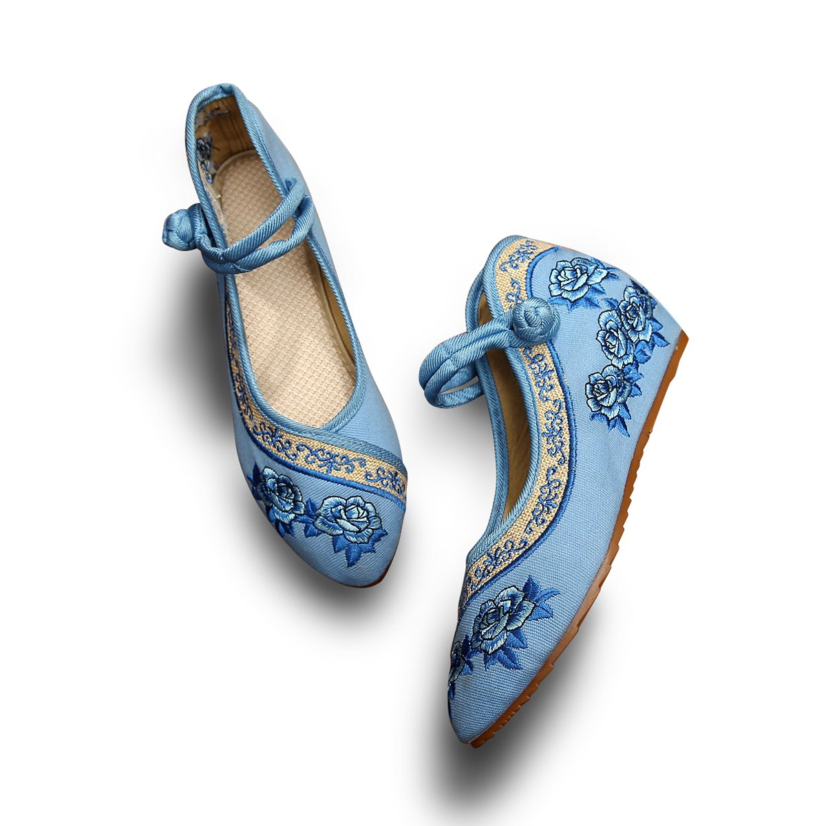 Veowalk Rose Embroidered Womens Pointed Toe Cotton Flat Platforms Shoes Elegant Casual Canvas Ballets