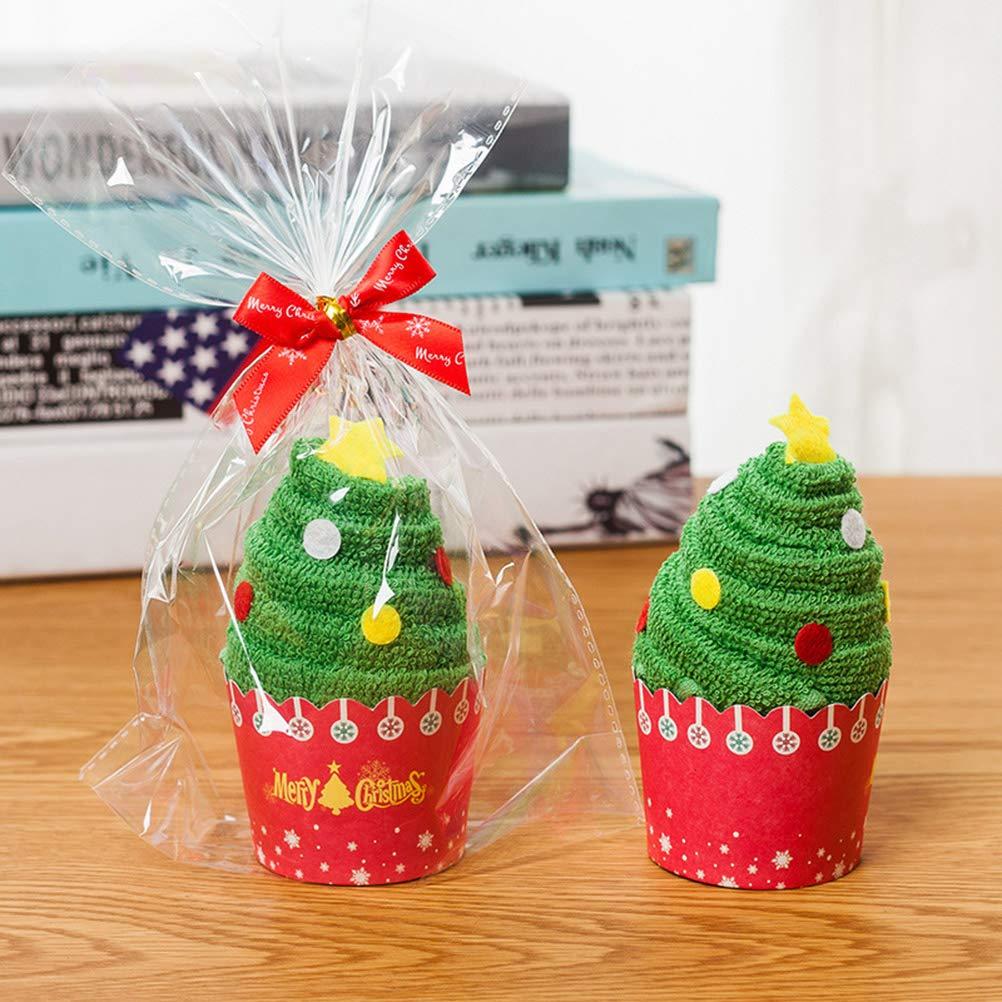 Albero di Natale BESTonZON 2 Pezzi Asciugamani di Natale in Cotone Asciugamano da Bagno Pulizia Asciugamano Torta modellazione Asciugamano Asciugamano per Il Viso Regalo di Natale