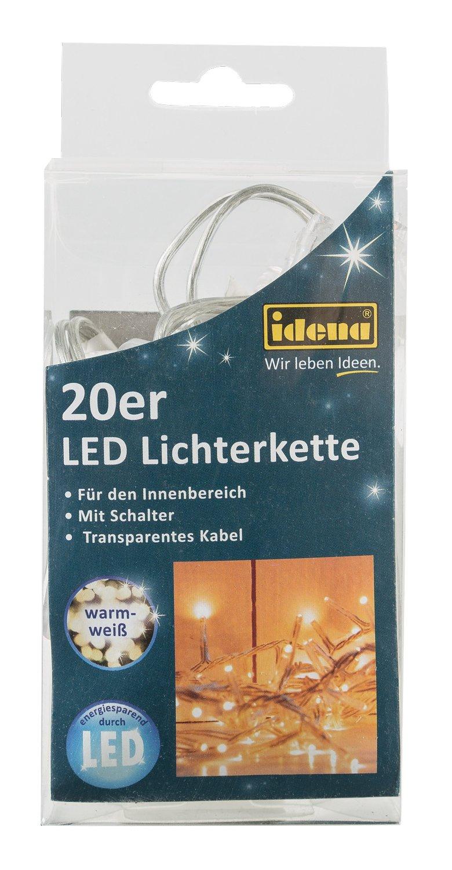 para interiores con interruptor Idena guirnalda de bombillas LED 20-unidades luz blanca c/álida 31117 longitud 3,40 m
