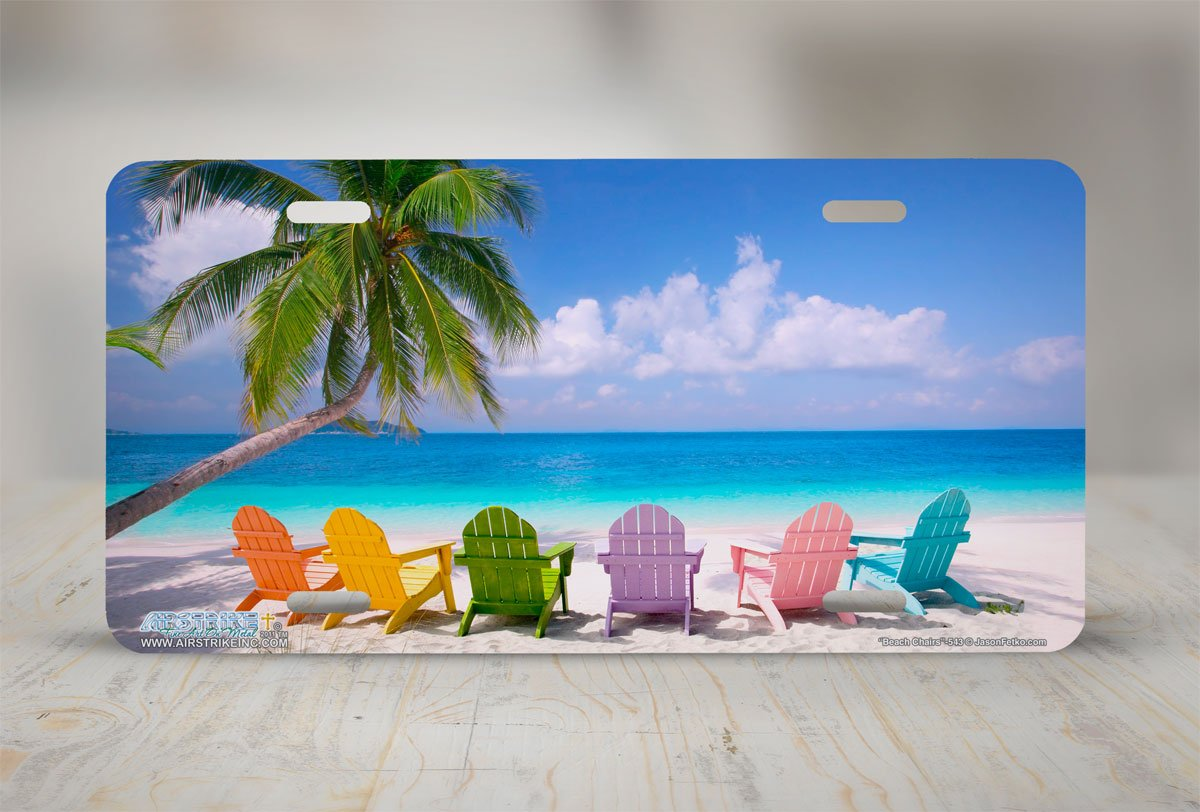 Airstrike Beach Scene License Plate Beach Chairs Front License Plate Decorative Car Tag Made Metal-543