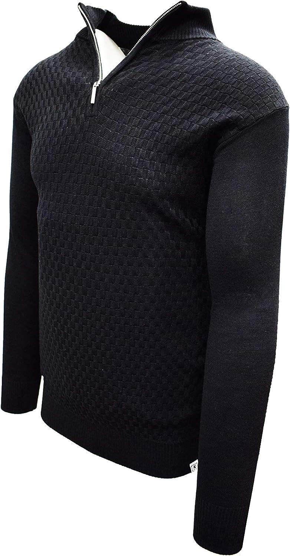 STACY ADAMS Men's Quarter Zipped Pullover Winter Sweater