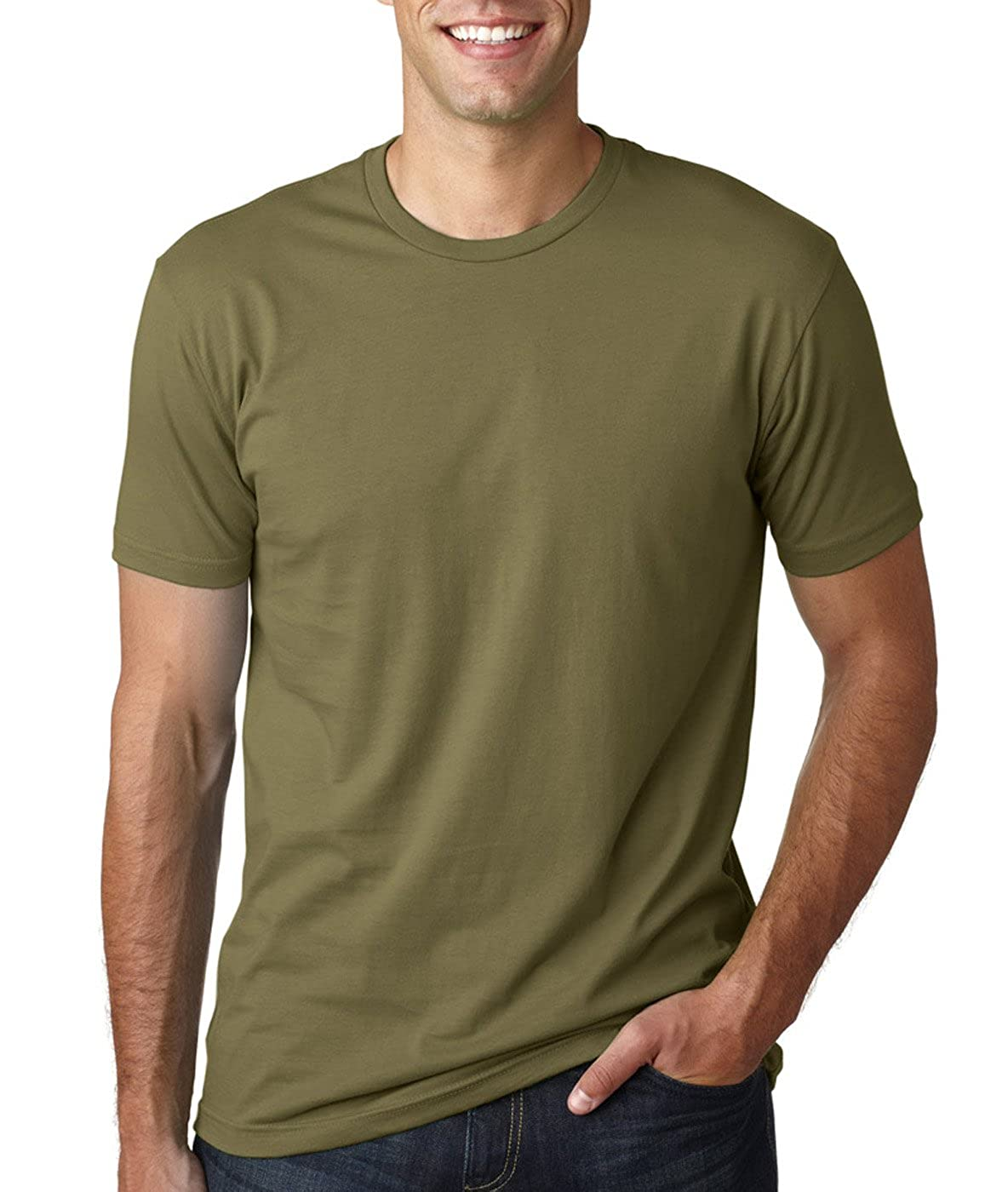 Next Level Mens Premium Fitted Short-Sleeve Crew T-Shirt Military Green Kelly Green 2 Pack - Small