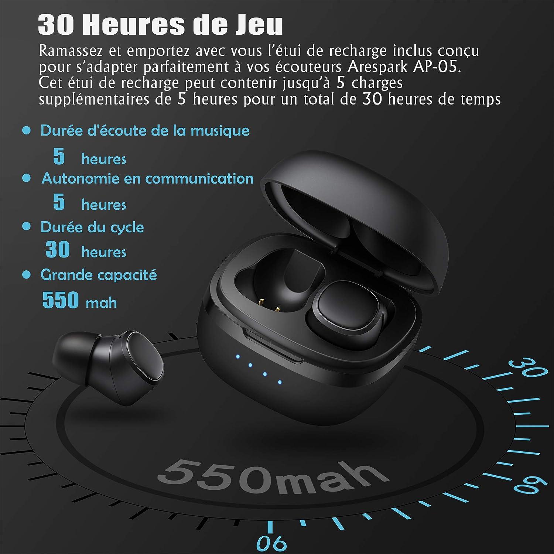 Arespark Écouteurs Bluetooth, TWS Truefree 5.0 Oreillette