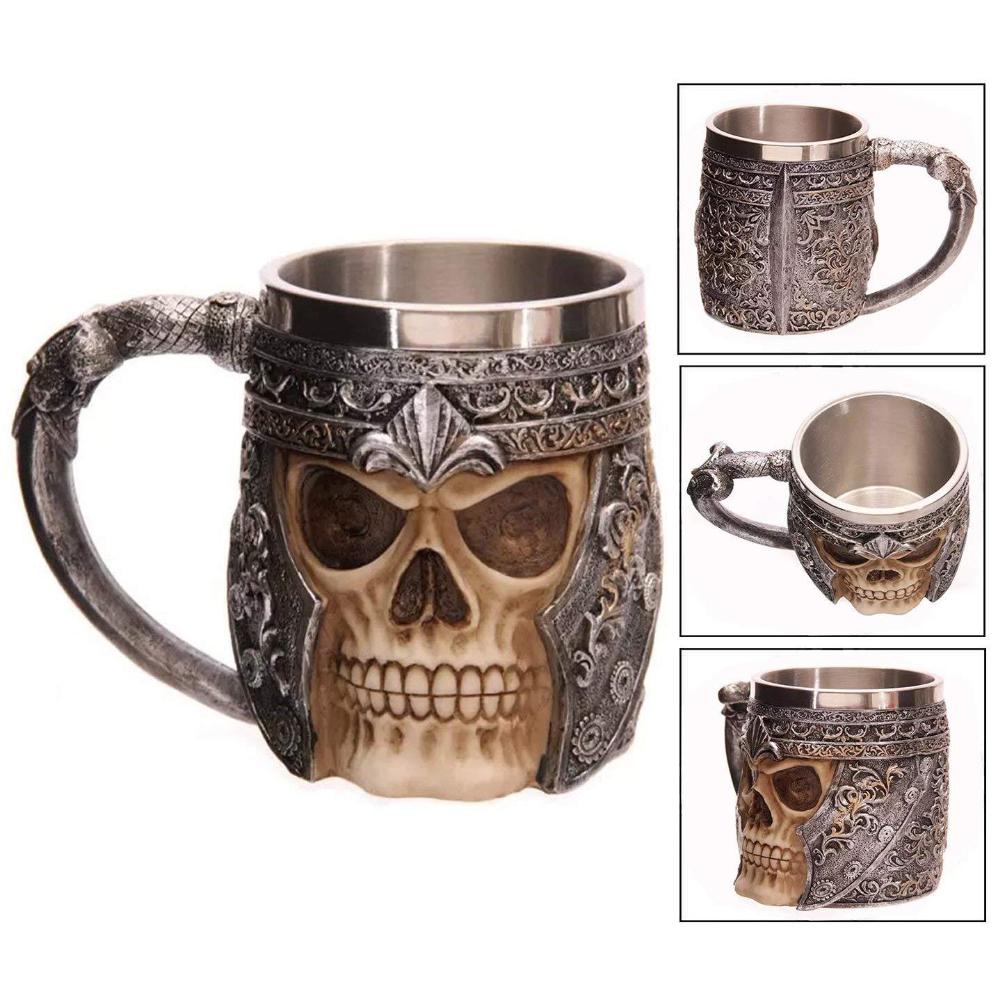 Taza de cerveza de acero inoxidable, taza de cráneo, jarra ...