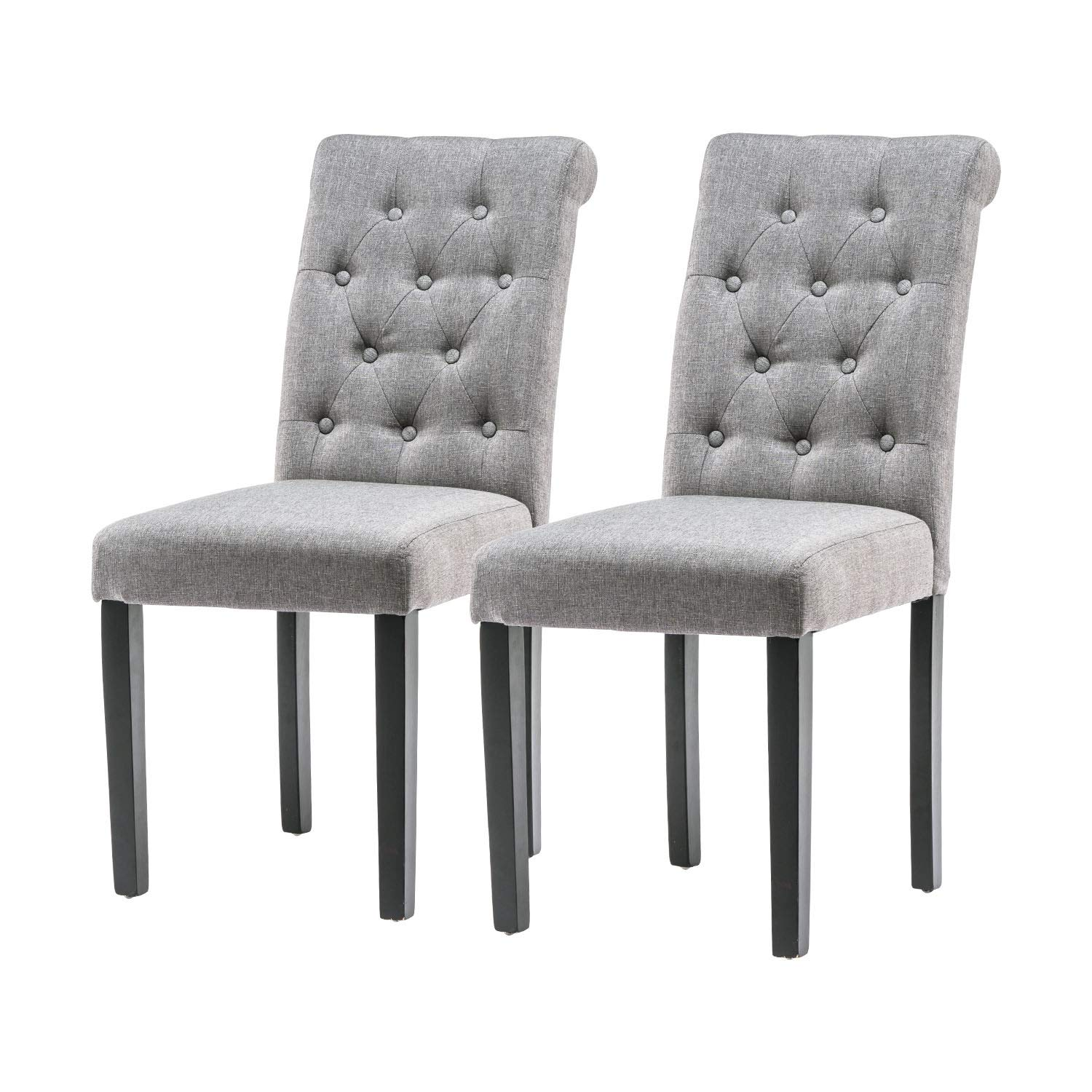 YEEFY Habit Solid Wood Tufted Parsons Dining Chair (Set of 2) (Gray) by YEEFY