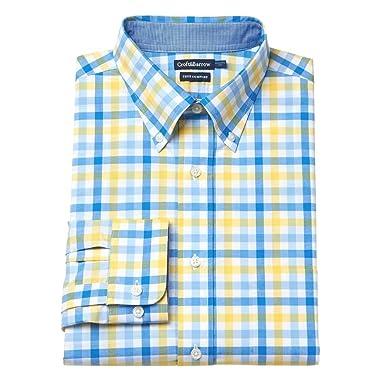 dce0b0fd4ec Croft   Barrow Mens Classic Fit Dress Shirt Blue Yellow Plaid Check  (15.5 quot  Neck