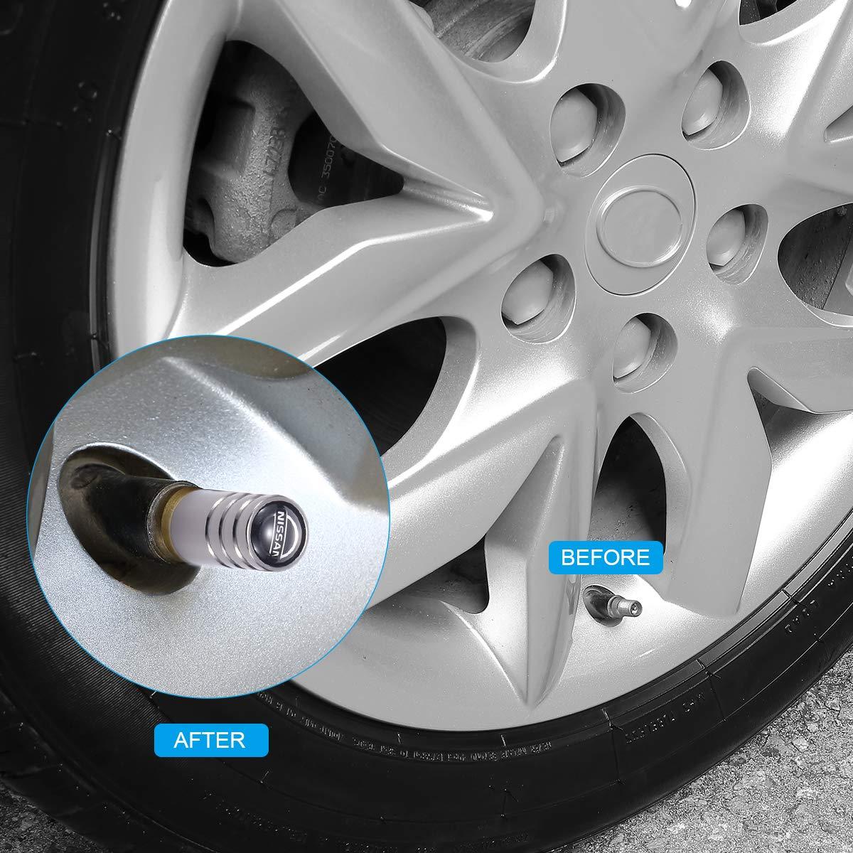 TK-KLZ 5Pcs Chrome Car Tire Valve Stem Caps for Nissan TEANA Qashqai TIDA Patrol Bluebird Decorative Accessory