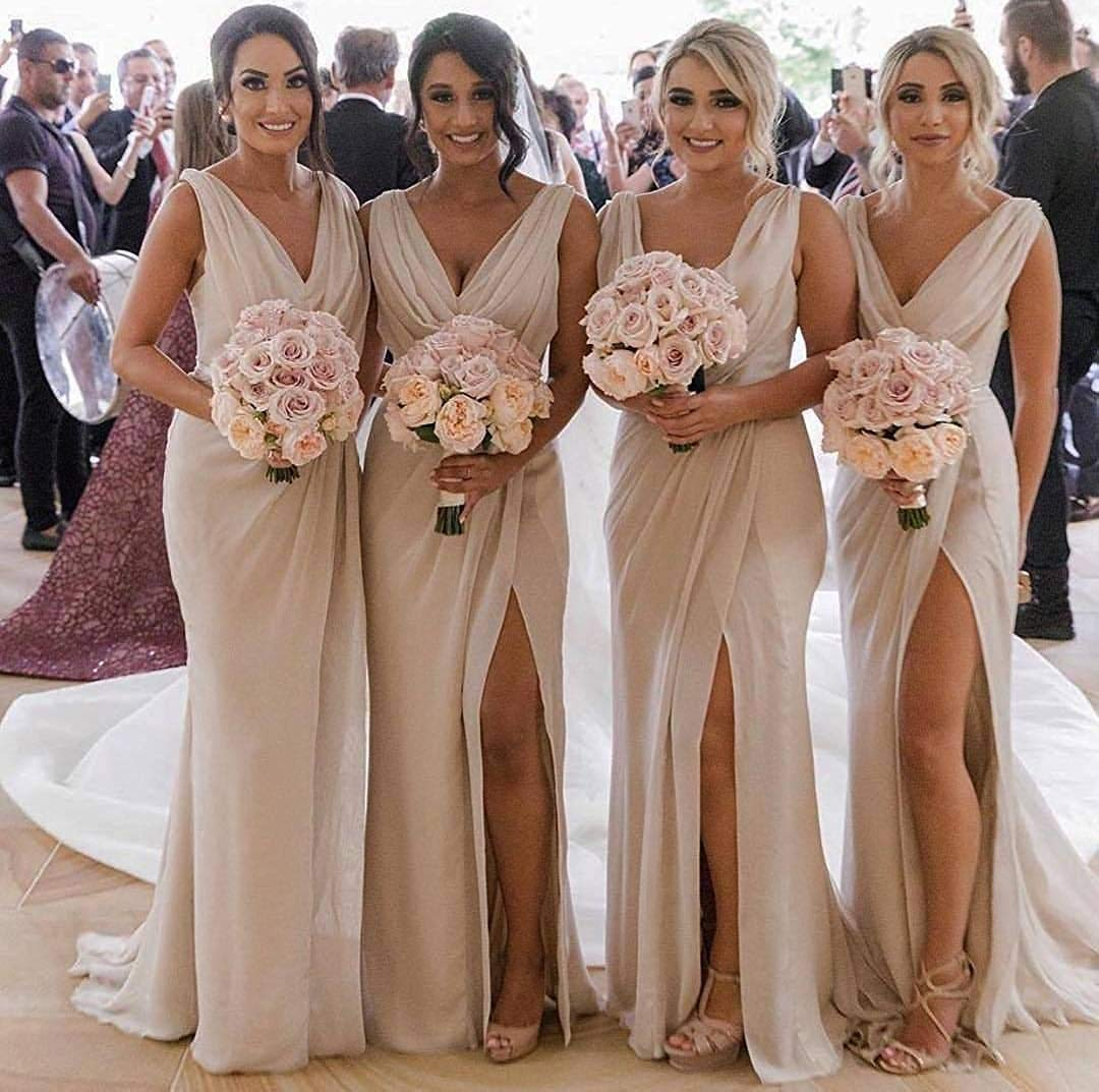 Marsen Slit Bridesmaid Dresses Long V Neck Chiffon Pleated