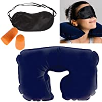 CABLE GALLERY® 3 In 1 Air Travel Kit Combo - Pillow, Ear Buds & Eye Mask (Inflatable Neck Cushion - Flannelette, Ear Buds - Cotton Foam, Eye Mask - Polyester) (3 in 1 pillow for traveling.)