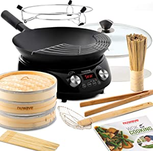 NUWAVE MOSAIC Induction Wok with 14-inch carbon steel wok with tempered glass lid; precision temperature control from 100F to 575F; also includes 90-recipe chef-created cookbook, and 8-piece Bamboo accessory kit [two 2-tier Bamboo steamer trays (9 inches in diameter) with Lid; 25 perforated wax paper sheets for steaming (9 inches in diameter); one Bamboo tongs (11.85 inches long); one Bamboo skimmer for frying (15 inches long); one Bamboo brush (8 inches long); 5 sets of Bamboo chopsticks