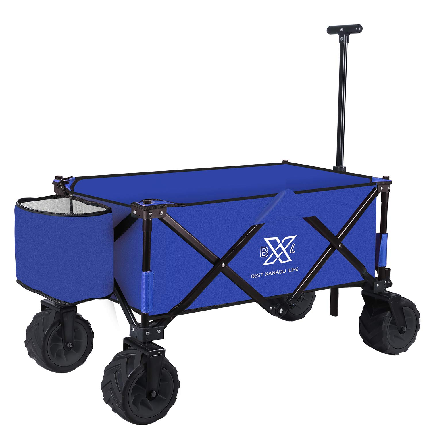 BXL Heavy Duty Collapsible Folding Garden Cart Utility Wagon for Shopping Outdoors (Blue) by BXL