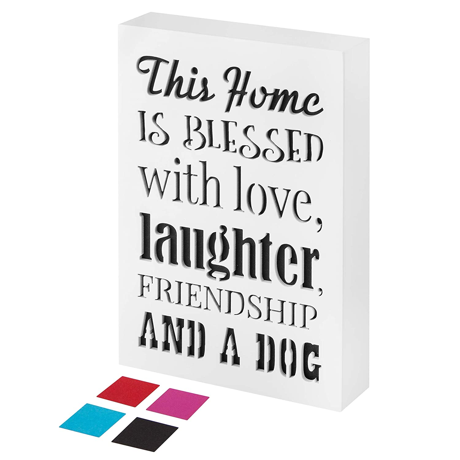 KAUZA Signs for Home Decor Dog Mom Gifts Accessories Bless Hhis Home Sign