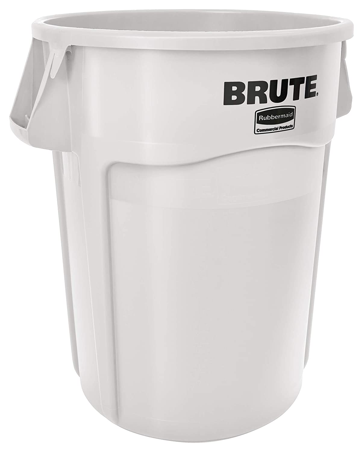 Rubbermaid Commercial Products BRUTE Heavy-Duty Round Trash/Garbage Can with Venting Channels - 44 Gallon - White (Pack of 1)