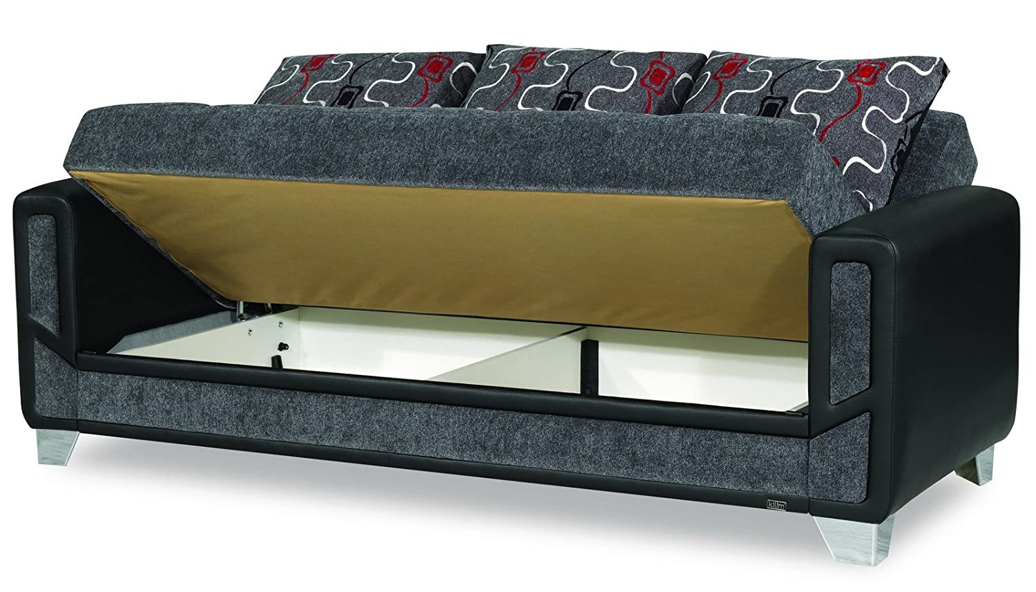 Amazon.com: Casamode Mondo Modern Sofa Bed Gray Chenille ...
