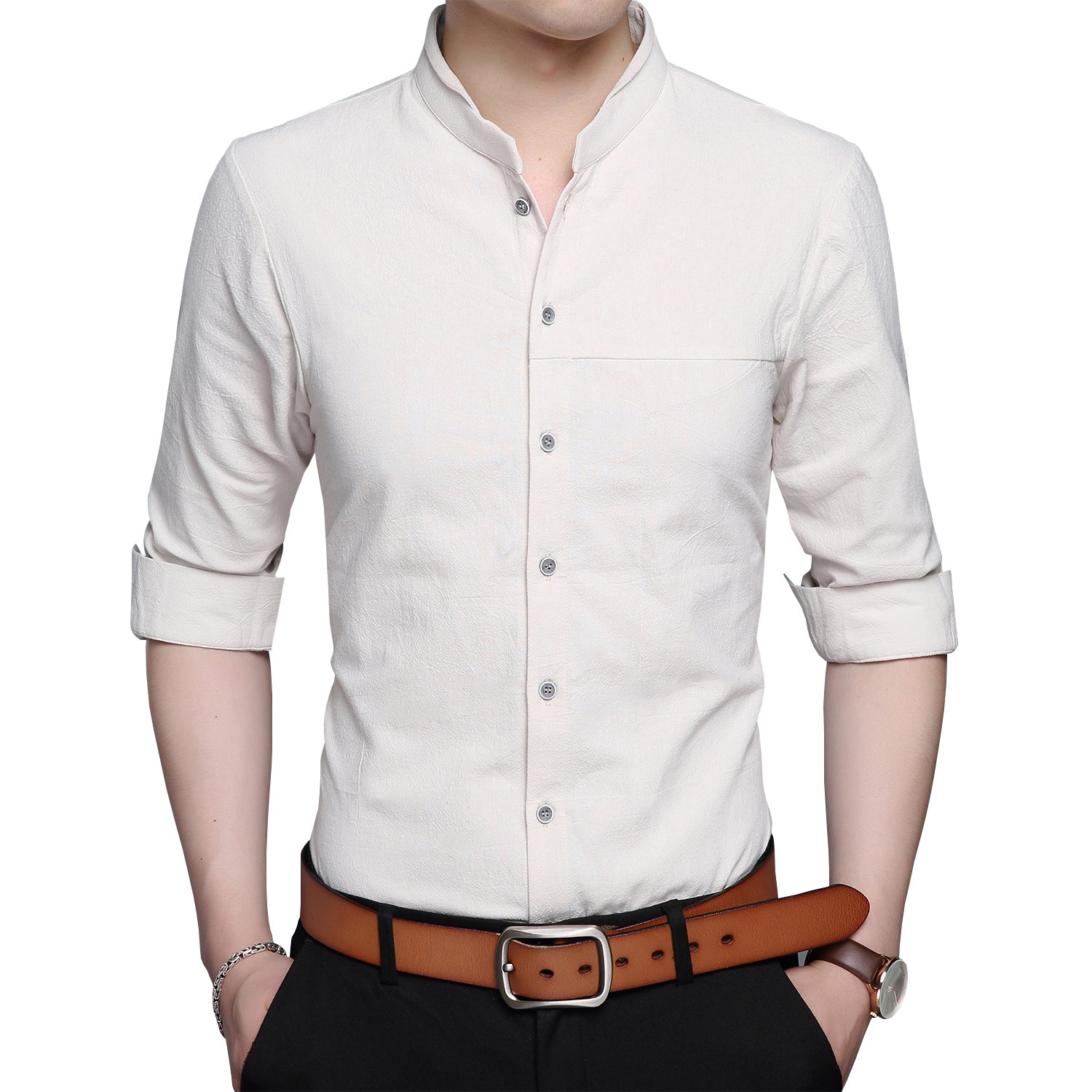 767cea4729eb Stand collar design shirt. Money-back satisfaction guarantee. Good quality  fabric, and making style make you feel good and comfortable ...