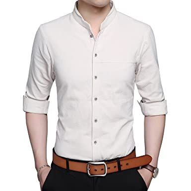 8d372983d Womleys Mens Long Sleeve Slim Fit Banded Collar Cotton Button Down Dress  Shirts at Amazon Men's Clothing store: