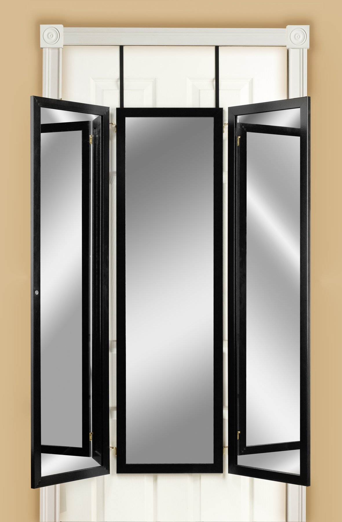 Mirrotek 3VU1448BK Triple View Professional Over The Door Dressing Mirror with 4 Mirrors, Black