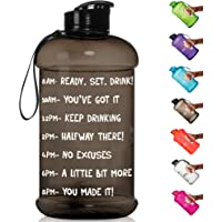 $21 » HydroMATE Half Gallon Motivational Water Bottle with Time Marker Large BPA Free Jug with…
