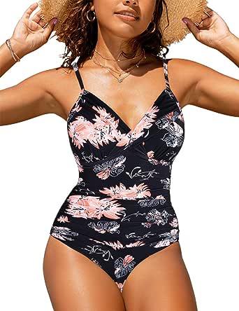 Hilor Women's High Neck Swimwear Halter Tankini Tops Asymmetrical Swimsuits Flowy Bathing Suit