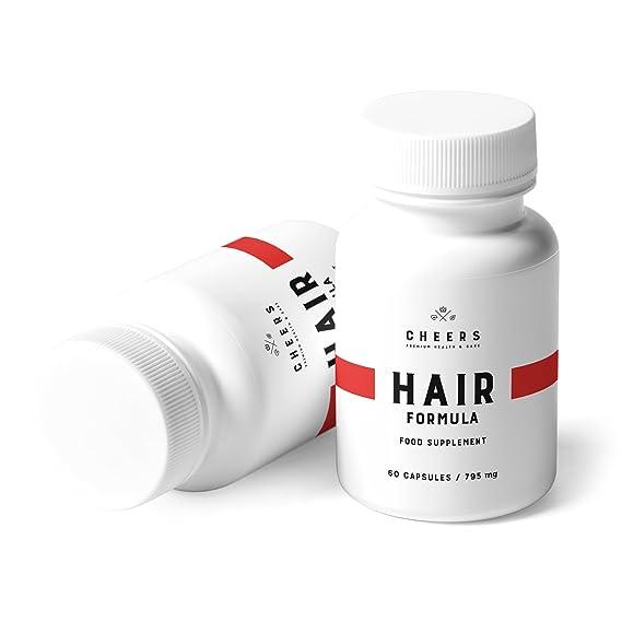 Cheers - Hair Formula - Suplemento natural con ácido fosfatídico para potenciar x2 crecimiento del cabello - Extractos de bambú, cola de caballo y palmito: ...