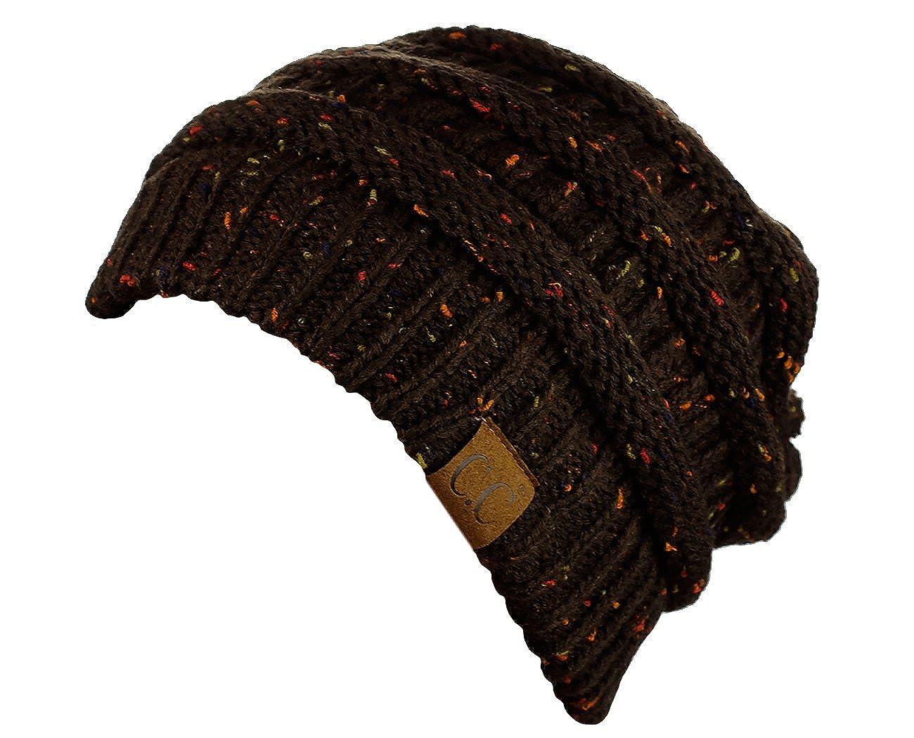 06d9fa20de2d6 C.C Unisex Colorful Confetti Soft Stretch Cable Knit Beanie Skull Cap  HAT33-BK larger image