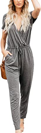 Relipop Women's Romper Wrap V Neck Short Sleeve Elastic High Waist Tie Solid Color Casual Jumpsuits