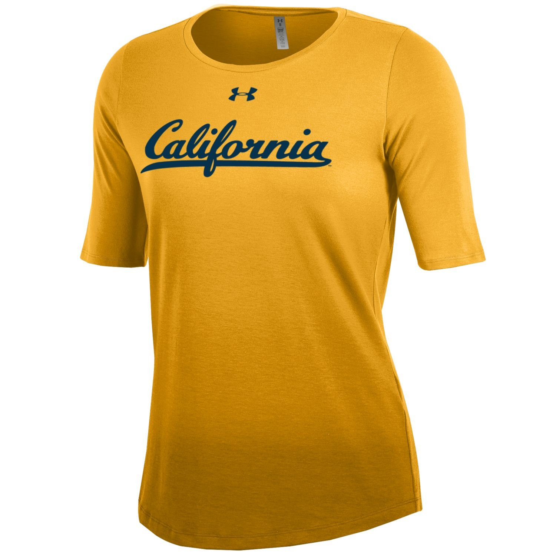 Gold Under Armour NCAA California Golden Bears Womens Dip Dye Short Sleeve Tee XX-Large