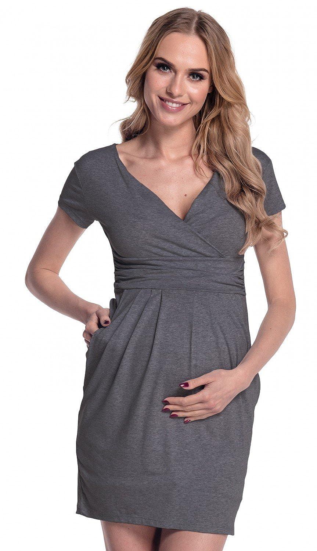 Happy Mama Maternity. Vestido premamá manga corta cuello V. 806p 8947