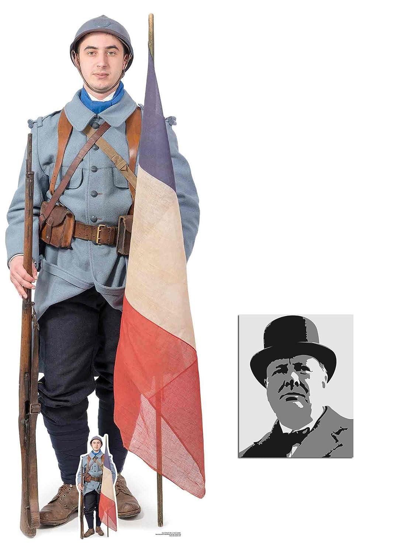 BundleZ-4-FanZ Fan Packs Soldat Français de la Première Guerre Mondiale Grand Mini Silhouette en Carton Standee/Stand-Up, 186cm x 70cm Star Photo (Dimensions 25x20 Cm)