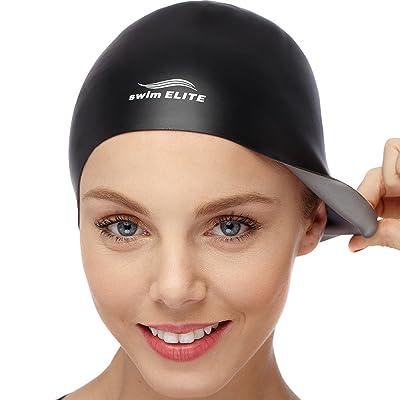 2en 1Bain Elite en silicone Bonnet de bain–Réversible–Porter sur les deux côtés–sans pli–pour Homme et Femme–